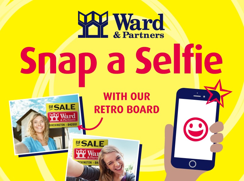Wards promotional image showing selfies near retro boards